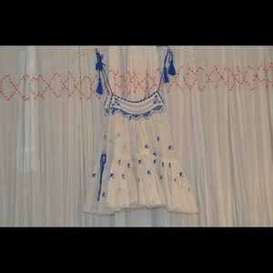free people blue & white tassel embroidered crop!